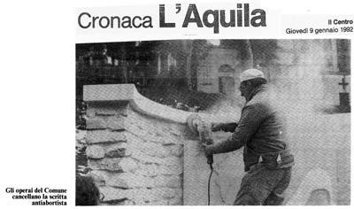 """Current events – Aquila – Town workers erase the antiabortion inscription"""