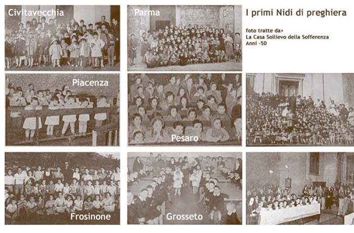 The first Children's Prayer Nests (photos taken from La Casa Sollievo della Sofferenza 1950s)